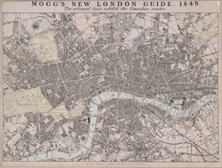 Mogg's new London guide, 1849 :the coloured lines exhibit the omnibus routes